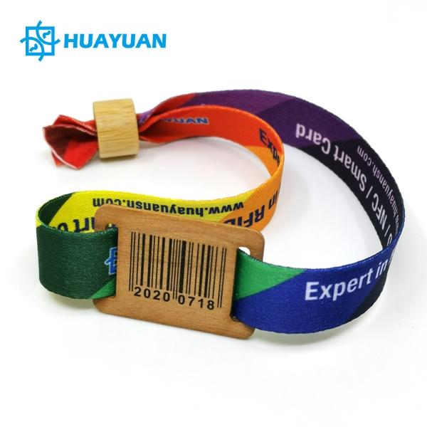 Huayuan ECO Wood Tag RFID Fabric Wristband