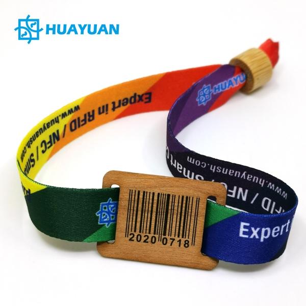Huayuan ECO Wood Tag RFID Fabric Wristbands